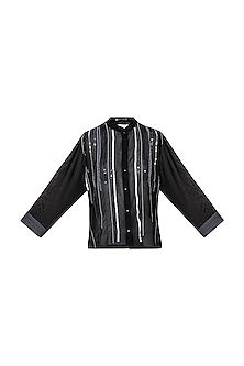 Black Embellished Shirt by Gavin Miguel