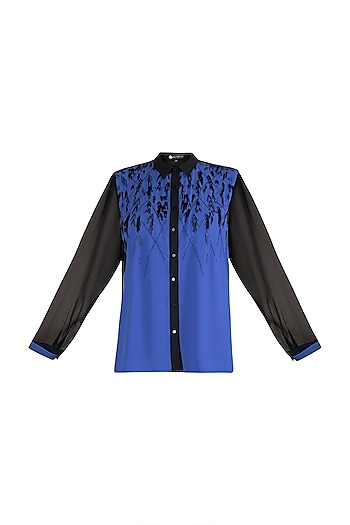 Blue & Black Embroidered Shirt by Gavin Miguel