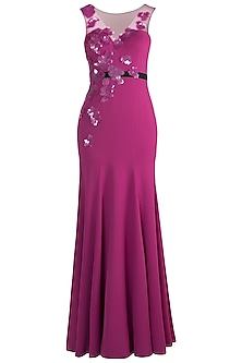 Fuchsia Embroidered Gown by Gavin Miguel