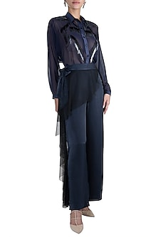 Blue Embroidered Pants by Gavin Miguel