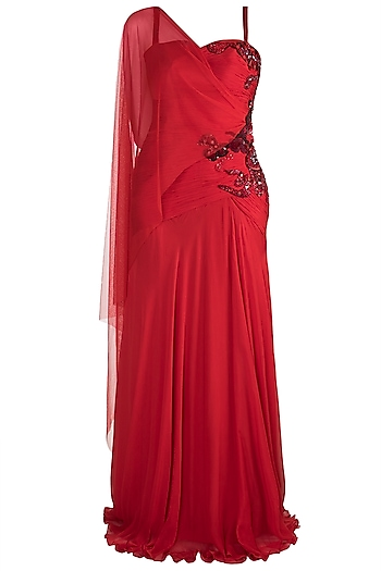 Red Embellished Gown With Drape by Gavin Miguel