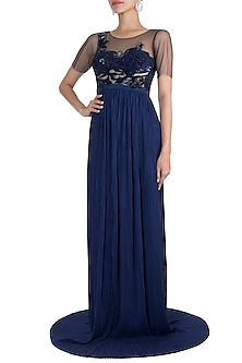 Blue Embroidered Gown by Gavin Miguel