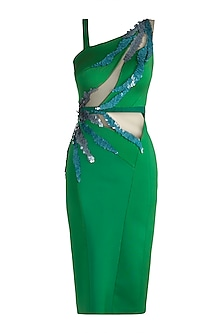 Emerald Green Embroidered Cocktail Dress by Gavin Miguel