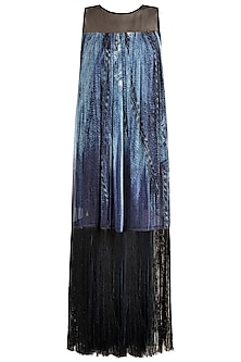Blue Printed Tassel Dress by Gavin Miguel