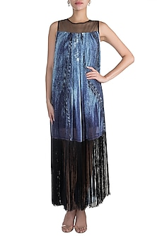 Blue Printed Tassel Dress by Gavin Miguel