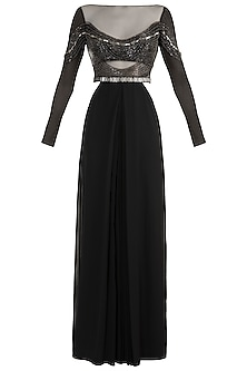 Black Embellished Gown by Gavin Miguel