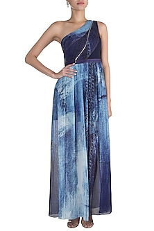 Blue Printed One Shoulder Gown by Gavin Miguel