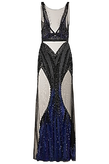 Black & Blue Embellished Gown by Gavin Miguel