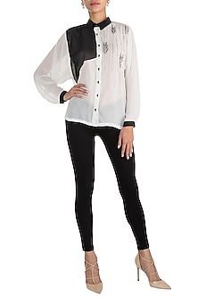 White & Black Georgette Shirt by Gavin Miguel