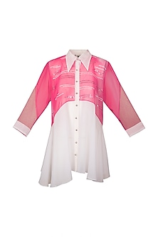 White & Pink Georgette Shirt by Gavin Miguel