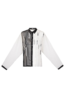 Black & White Embroidered Shirt by Gavin Miguel