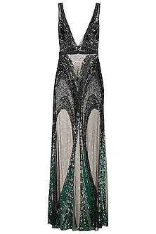 Black & Green Embellished Gown by Gavin Miguel