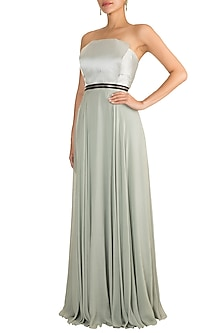 Grey Constructed Gown by Gavin Miguel