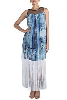 Blue Printed Dress by Gavin Miguel
