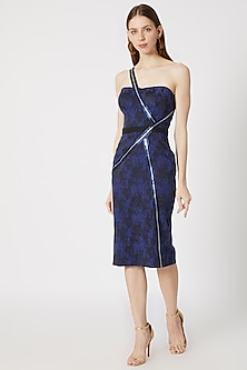 Blue & Black Textured Dress by Gavin Miguel
