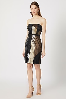 Black Metallic Cocktail Dress by Gavin Miguel
