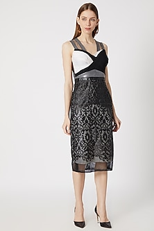 Black Leather Detailing Dress With Ruching by Gavin Miguel