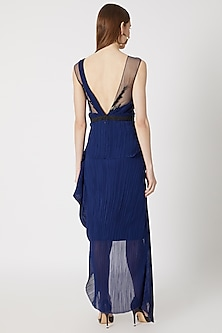 Blue Embroidered Asymmetrical Dress by Gavin Miguel