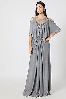 Silver Embroidered Shimmer Gown by Gavin Miguel