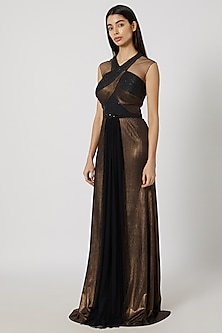 Dull Gold Pleated Gown by Gavin Miguel