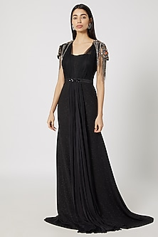 Black Stones & Chains Embroidered Gown by Gavin Miguel