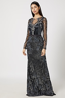 Black Embellished Pearl Gown by Gavin Miguel