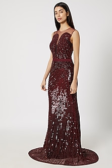 Wine Sequins Embellished Gown by Gavin Miguel