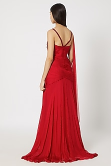 Red Embroidered Draped Gown by Gavin Miguel