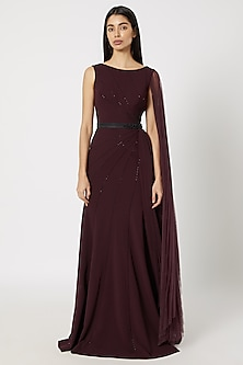 Wine Draped & Embroidered Gown by Gavin Miguel