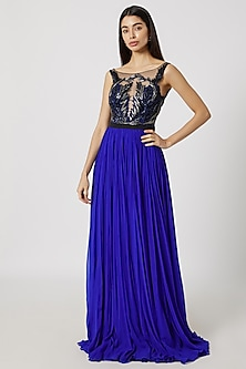 Blue Embroidered Flared Gown by Gavin Miguel