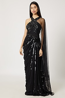 Black Sequins Embroidered Saree Gown by Gavin Miguel