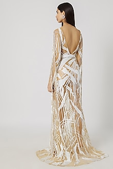 White & Nude Embroidered Gown by Gavin Miguel