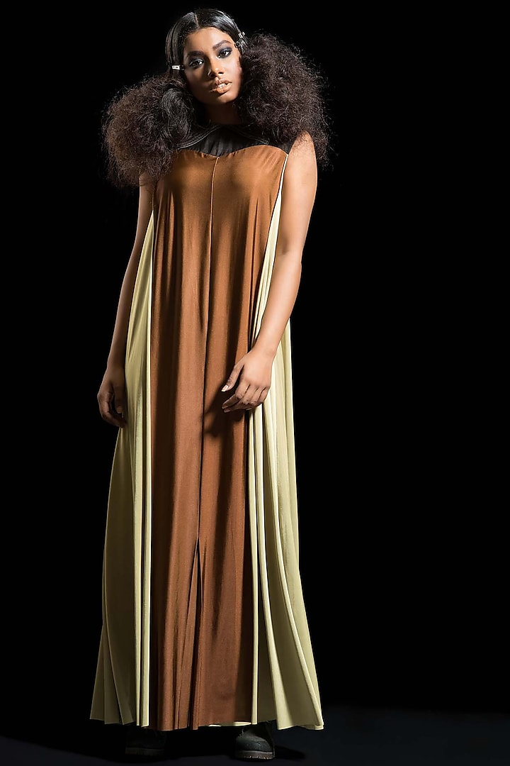 Brown Embroidered & Draped Dress by Megha Garg