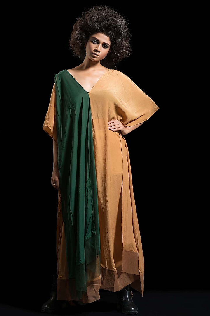 Coffee Brown & Green Kaftan Dress by Megha Garg