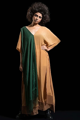 Coffee Brown & Green Kaftan Dress by Megha Garg