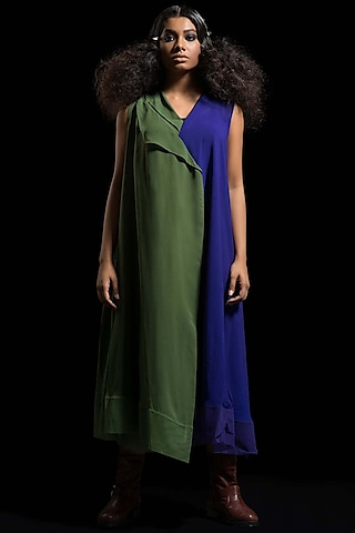 Olive Green & Blue Kurta Dress by Megha Garg