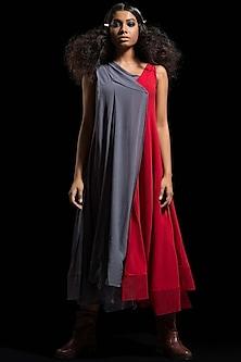 Grey & Red Color Blocked Dress by Megha Garg-MEGHA GARG