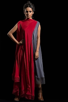 Red & Grey Draped Dress by Megha Garg-MEGHA GARG