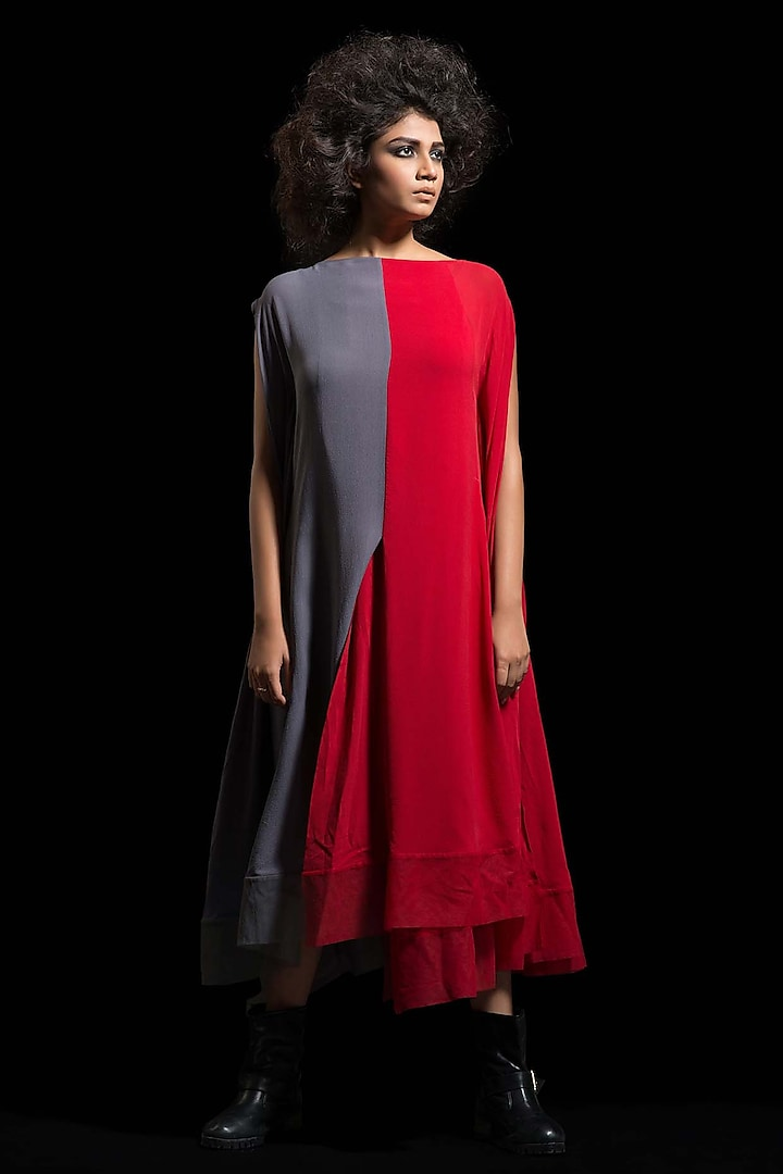 Red & Grey Kaftan Dress by Megha Garg