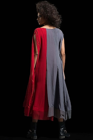 Red & Grey Kaftan Dress by Megha Garg