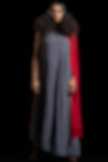 Grey & Red Color Blocked Kurta Dress by Megha Garg