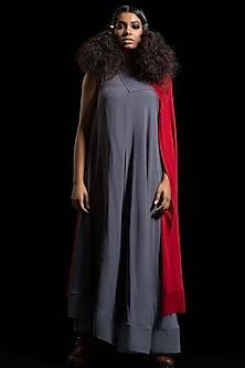 Grey & Red Color Blocked Kurta Dress by Megha Garg-MEGHA GARG