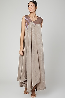 Grey Embroidered Asymmetric Kurta Dress by Megha Garg