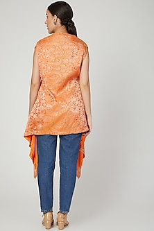 Orange Asymmetric Brocade Top by Megha Garg