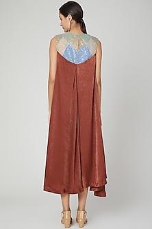 Copper Embroidered Asymmetric Kurta Dress by Megha Garg