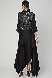 Black Asymmetric Quilted Dress by Megha Garg
