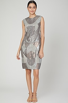 Silver Embroidered Quilted Dress by Megha Garg