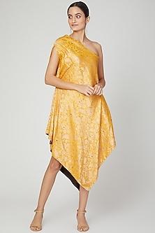 Yellow Asymmetric Brocade Dress by Megha Garg