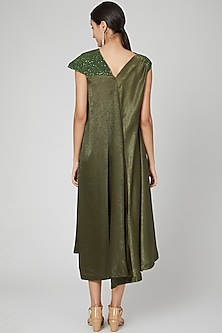 Olive Green Embroidered Quilted Dress by Megha Garg