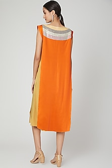 Orange Embroidered Quilted Kurta by Megha Garg